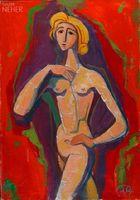 StehenderMädchenaktvorRot,1954 / Karl Hofer