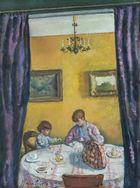 Frau und Sohn des Künstlers am Frühstücktisch, 1920 / Eugen Spiro