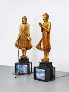 Kunsthaus Lempertz - Nam June Paik  (Seoul 1932 - 2006 Miami), Temple guards,  1993