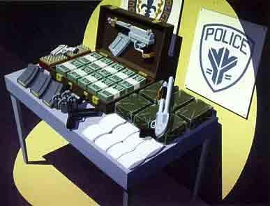 Police Display of Guns, Drugs and Money