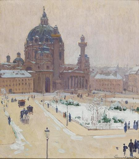 Carl Moll, Karlskirche im Winter, 1902