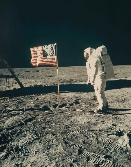 NASA, Buzz Aldrin beside the Stars and Stripes, 1969